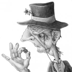Caricature of a penny pincher, AKIllustration / Shutterstock.com