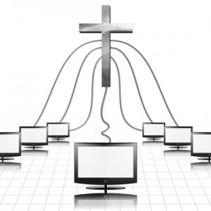 A cross plugged into computer screens. Illustration courtesy Bruce Rolff/shutter