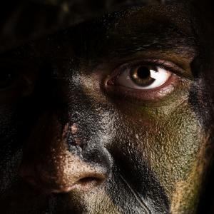 Soilder's face, Aaron Amat/Shutterstock.com