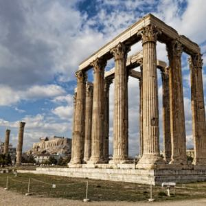 Ancient Temple of Olympian Zeus in Athens.