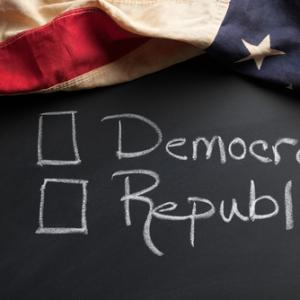 Democrat / Republican sign, eurobanks / Shutterstock.com