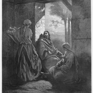 Drawing of Mary, Martha, and Jesus by Gustave Dore. Courtesy Nicku/shutterstock.