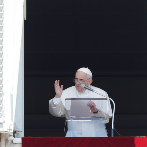 Pope Francis leads prayer from his window at the Vatican on July 18, 2021following intestinal surgery.REUTERS/Remo Casilli