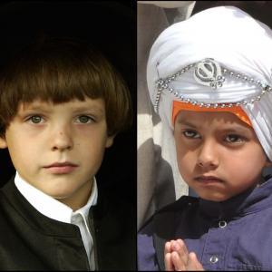 Amish boy (left) and Sikh boy (right).