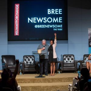 Sojourners' founder Jim Wallis stands with activist Bree Newsome at the 2016 Summit.