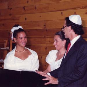 Lacey Schwartz at her Bat Mitzvah with her parents. Image courtesy Lacey Schwart