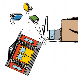 Illustration of a hand sticking out of an Amazon box pushing away a library building with books flying out.