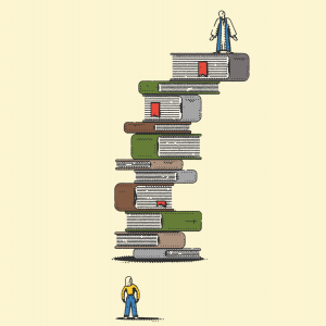 An illustration of a male pastor standing on a tall stack of books, overlooking a female pastor at the bottom.