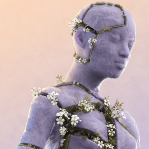 An graphic illustration of human body chest-up that looks like a statue. The statue body has cracks in it, and in the cracks are growing white flowers and moss and green grass.