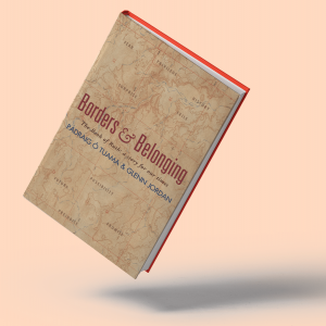 The cover of 'Borders and Belonging' has a map in the background.