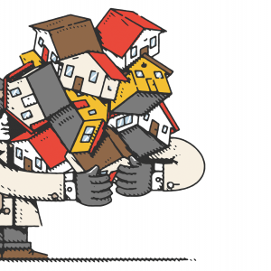 An illustration of an anonymous man in a trench coat holding a bunch of houses in his arms.