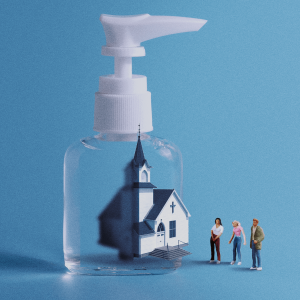 A graphic of a church building inside of a hand sanitizer bottle. There are people outside looking at the building.