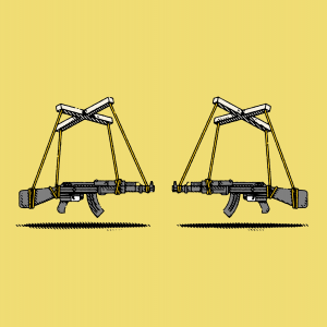Illustration of two semi-automatic rifles being held by puppet strings, pointing at each other.