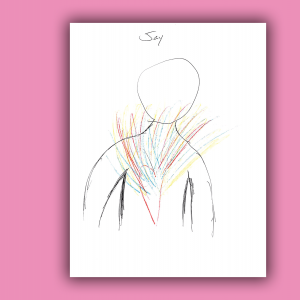 Colorful scribbles bursting out of a drawn heart within a human frame.