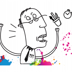 A line drawing of Ed Spivey throwing a jar of pens and notebook with colorful splatters along the bottom of the frame.