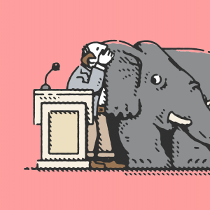 An illustration of a pastor whispering in to the ears of an elephant.