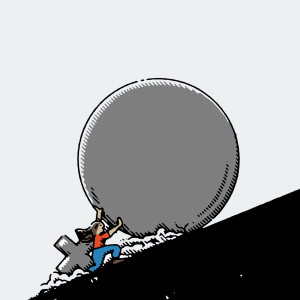 An illustration of a woman pushing a giant boulder up a hill.
