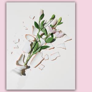 A shattered flower vase.