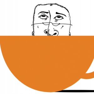 Illustration of a grumpy old man face sticking out of a coffee mug.