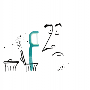 An illustrated outline of a confused human face looking at a flossing pick that is sticking out of a trash can.