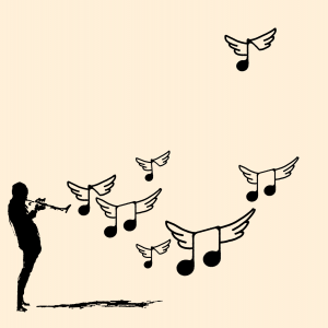 Silhouette of a musician playing the saxophone with music notes wafting into the air.