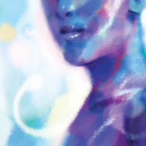 A blue and purple illustration of a human torso and head