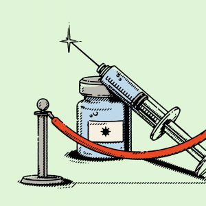 Illustration of a vaccine needle behind a barrier.