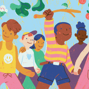 An illustration of children smiling and walking into open arms.