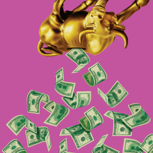 Graphic of money spilling out of a golden calf piggy bank.