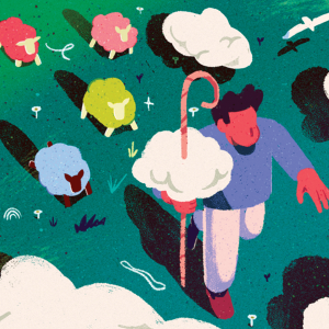 An illustration of a shepherd leading a flock of rainbow-colored sheep.