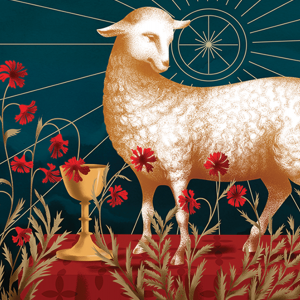 A lamb is surrounded by red poppies and a golden chalice.