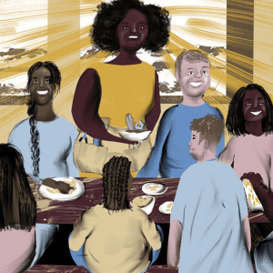 An illustration of Wisdom, depicted as a Black woman, hosting a party and bringing food to a full table.