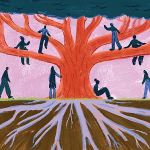 An illustration of a tree and its roots with people along the branches and trunk