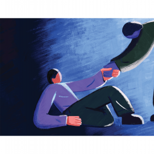 An illustration of someone helping another person up, who has fallen on the gorund.