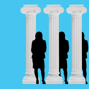 Greek columns with a silhouette of Vice President Kamala Harris.