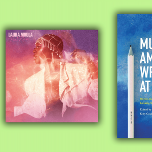 The cover of Laura Mvula's album is a photo of her dancing among stars and galaxies, and the cover of 'Muslim Writers At Home' is a blue background with a pen.
