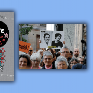 The cover for 'Concrete Kids' features an illustration of a teen with an afro and roses placed throughout it. The scene from 'Nasrin' is a photo of a march for human rights in Iran.