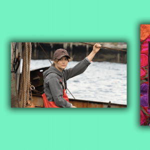 A scene from CODA of 17-year-old Ruby on a fishing boat. The cover of 'Abuelita Faith' has a background of flowers in warm colors.