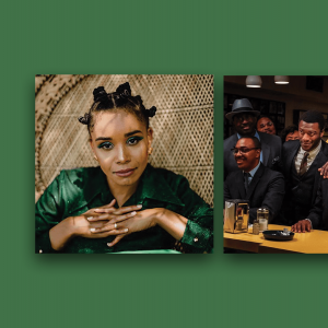 The left photo is of Christina Cleveland posing in a green dress with her hands folded. In the right photo, Black civil rights activists are gathered in a bar, a scene from the film 'One Night in Miami.'