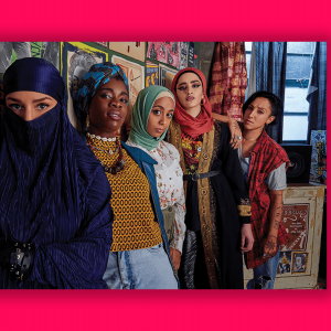 A scene from 'We Are Lady Parts' with a group of women in hijabs.