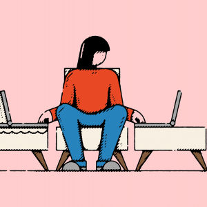 Illustration of a parent with one hand caring for a child in a crib and one hand typing on a laptop.