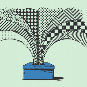 An illustration of a voting box bursting with polka dots, stripes, stars, etc.