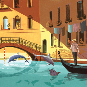 An illustration of a gondolier going through a Venetian canal with dolphins jumping out.