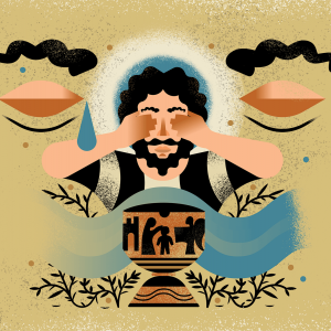 An illustration of a man with dark hair and a beard, covering his eyes as a tear falls. In front of him there is a chalice and flowing water.