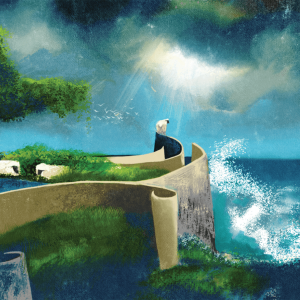 An illustration of sheep in a paradise, overlooking an ocean.