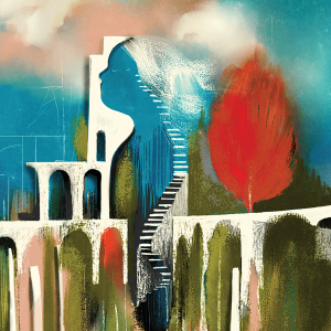 Graphic of an abstract figure of a woman with a staircase leading up to her mind.