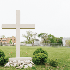 A cross on the lawn of Precious Blood ministry in Chicago.