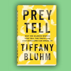 The cover of 'Prey Tell' by Tiffany Bluhm. It has a yellow background with white feathers.
