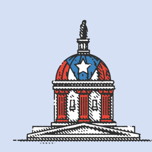 An illustration of the U.S. Capitol building in the colors of a Puerto Rico flag.