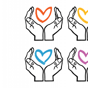 Illustration of hands holding drawings of hearts.